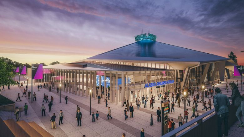 A rendering of the exterior of the renovated KeyArena, which for the past decade has not earned any money from naming rights. (Courtesy of NHL Seattle)