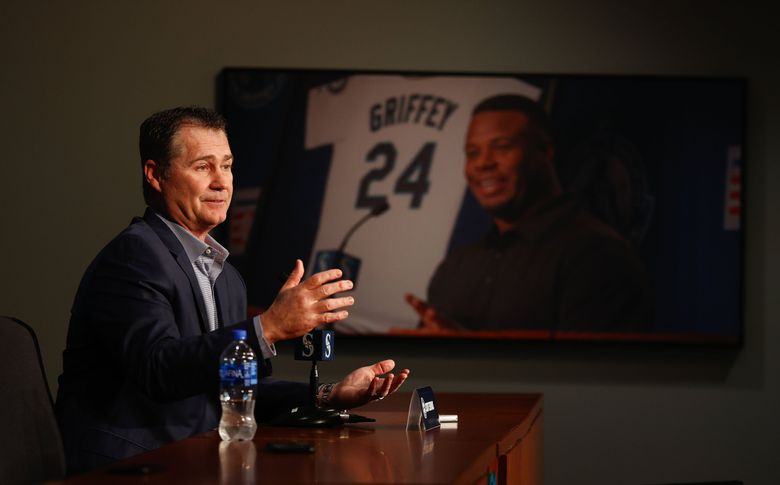 Mariners manager Scott Servais addresses the media at the team's annual pre-spring training news conference Thursday at T-Mobile Park. (Dean Rutz / The Seattle Times)