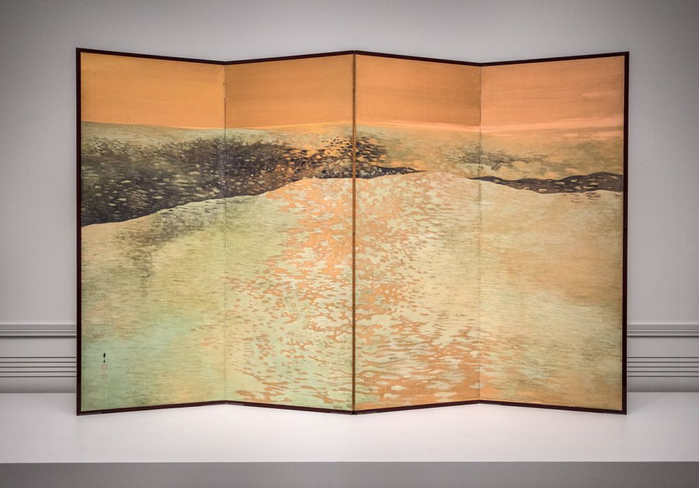 """The transportive silk painting """"Green Waves"""" by Japanese artist Tsuji Kakō is now on display in the """"Picturing Nature"""" gallery at SAAM, which has foregone classifying art by country or epoch. (Steve Ringman / The Seattle Times)"""