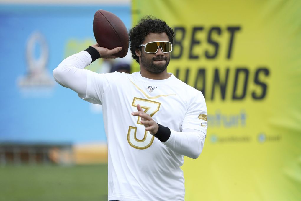 NFC quarterback Russell Wilson of the Seattle Seahawks is seen at the 2020 Pro Bowl Skills Showdown Wednesday, January 22, 2020, in Kissimmee, Fla. The event will be broadcast tomorrow at 9pm ET on ESPN. (AP Photo/Gregory Payan) NYOTK NYOTK (Gregory Payan / The Associated Press)