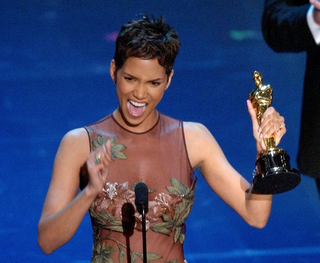 """Halle Berry gasped out, """"This moment is so much bigger than me,"""" as she accepted her Oscar for best actress for her role in """"Monster's Ball"""" in 2002. (Kevork Djansezian / The Associated Press)"""