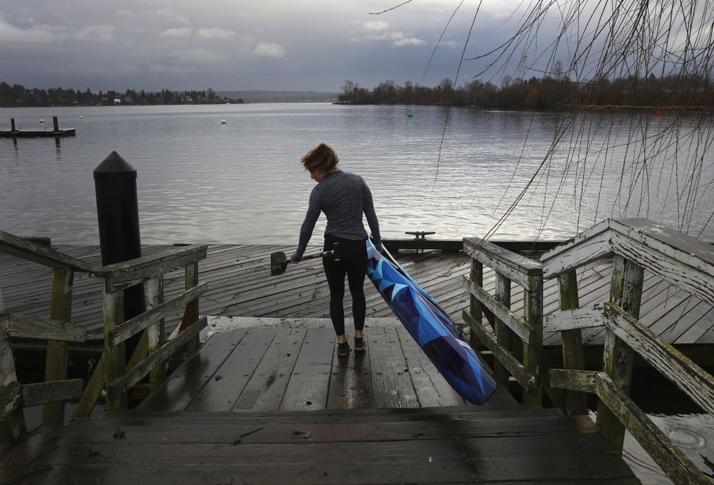 Nevin Harrison, preparing to launch from the University of Washington, Tuesday, Jan. 28, 2020 in Seattle is a 17-year-old canoeist who has qualified for the 2020 Olympics.  (Ken Lambert / The Seattle Times)