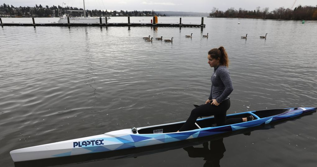 Nevin Harrison, launching from the University of Washington, Tuesday, Jan. 28, 2020 in Seattle is a 17-year-old canoeist who has qualified for the 2020 Olympics. (Ken Lambert / The Seattle Times)