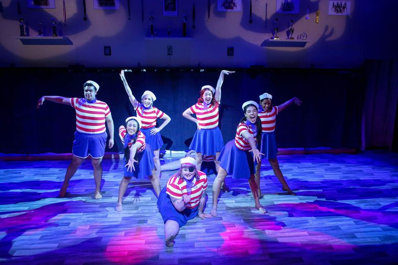 """Actors of various ages play wonderful, terrified and terrifying 13-year-old girls in Clare Barron's """"Dance Nation"""" at Washington Ensemble Theatre. (Jeff Carpenter)"""