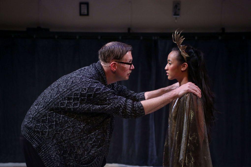 "Dance Teacher Pat (Nik Doner) and the always-second-best dancer Zuzu (Rheanna Atendido) in Washington Ensemble Theatre's production of Clare Barron's ""Dance Nation."" (Jeff Carpenter)"