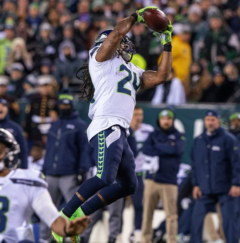 Seattle Seahawks running back Marshawn Lynch (24) leaps for a 2nd half catch as the Seattle Seahawks play the Philadelphia Eagles at Lincoln Financial Field in Philadelphia on January 5, 2020. (Mike Siegel / The Seattle Times)