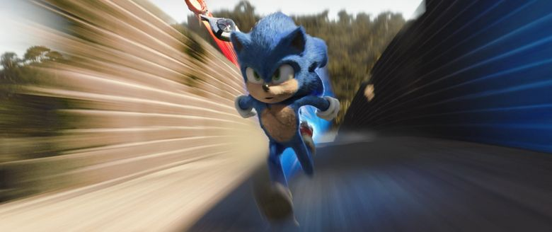 """Sonic (voiced by Ben Schwartz) zips onto the silver screen in """"Sonic the Hedgehog."""" (Courtesy of Paramount Pictures and Sega of America)"""