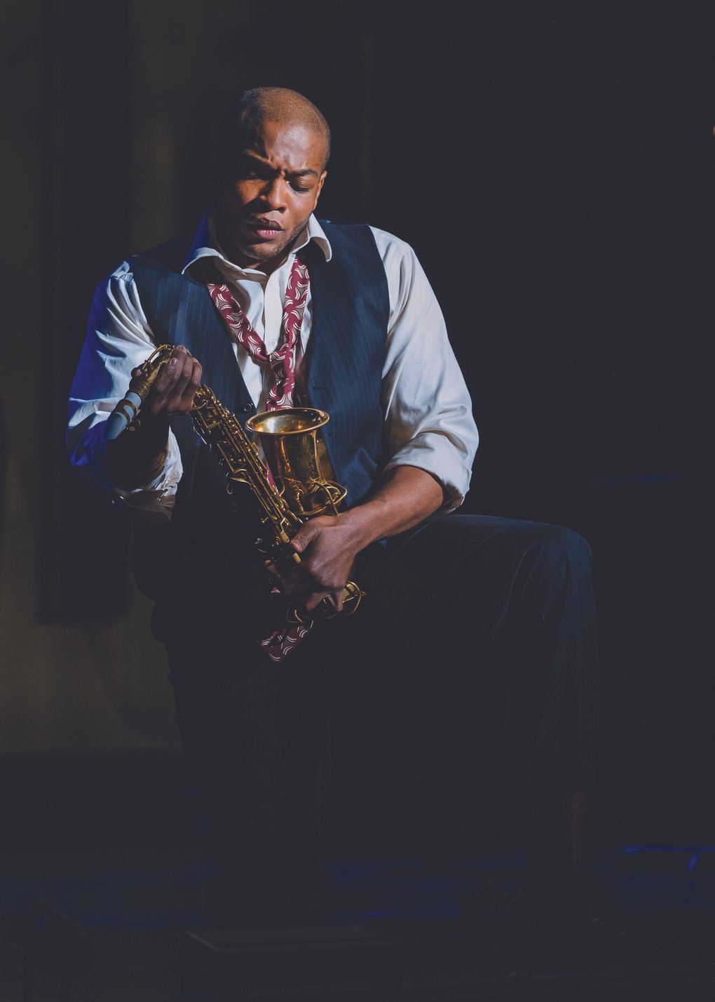 """Frederick Ballentine as Charlie Parker in Seattle Opera's """"Charlie Parker's Yardbird."""" Ballentine alternates with Joshua Stewart in the role. (Sunny Martini)"""