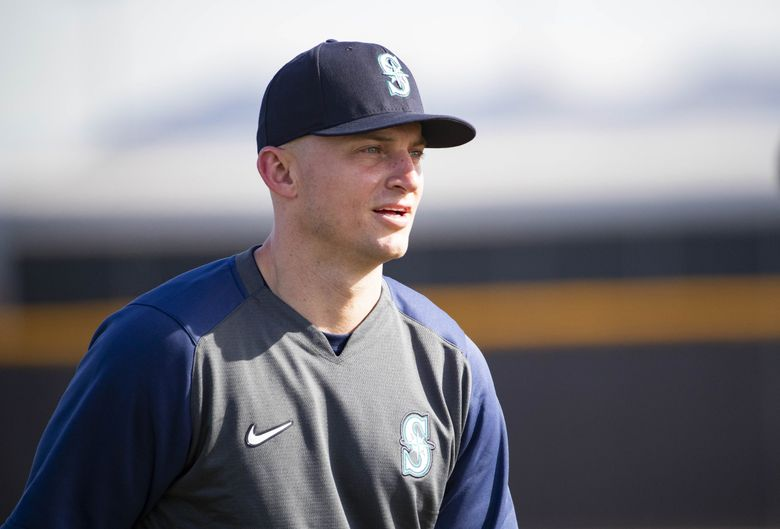 Kyle Seager arrives for Mariners spring training practice Wednesday in Peoria. (Dean Rutz / The Seattle Times)