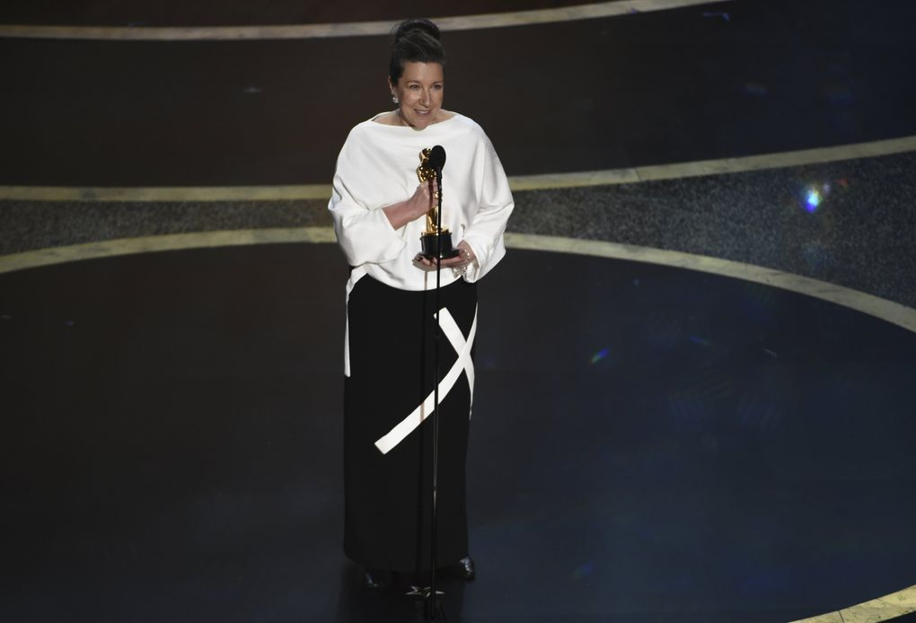 """Jacqueline Durran accepts the award for best costume design for """"Little Women"""" at the Oscars on Sunday, Feb. 9, 2020, at the Dolby Theatre in Los Angeles. (AP Photo/Chris Pizzello) CADC253 CADC253 (Chris Pizzello / Chris Pizzello/Invision/AP)"""