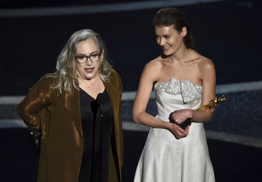 """Carol Dysinger, left, and Elena Andreicheva accept the award for best documentary short subject for """"Learning to Skateboard in a Warzone (If You're a Girl)"""" at the Oscars on Sunday, Feb. 9, 2020, at the Dolby Theatre in Los Angeles. (AP Photo/Chris Pizzello) CADC280 CADC280 (Chris Pizzello / Chris Pizzello/Invision/AP)"""
