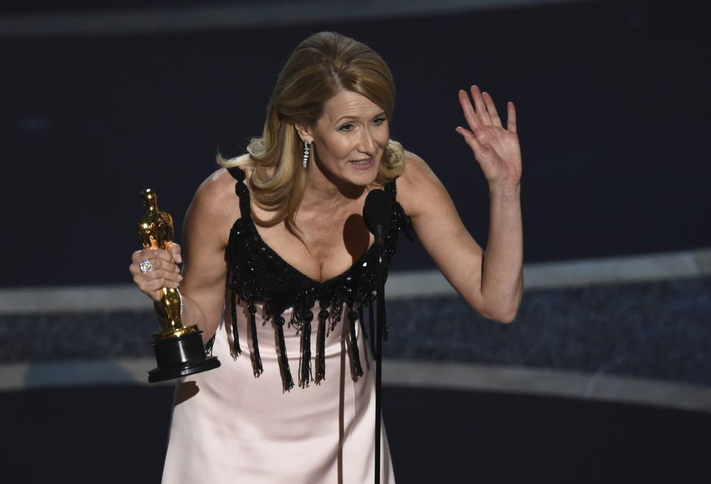 """Laura Dern accepts the award for best performance by an actress in a supporting role for """"Marriage Story"""" at the Oscars on Sunday, Feb. 9, 2020, at the Dolby Theatre in Los Angeles. (AP Photo/Chris Pizzello) CADC286 CADC286 (Chris Pizzello / Chris Pizzello/Invision/AP)"""