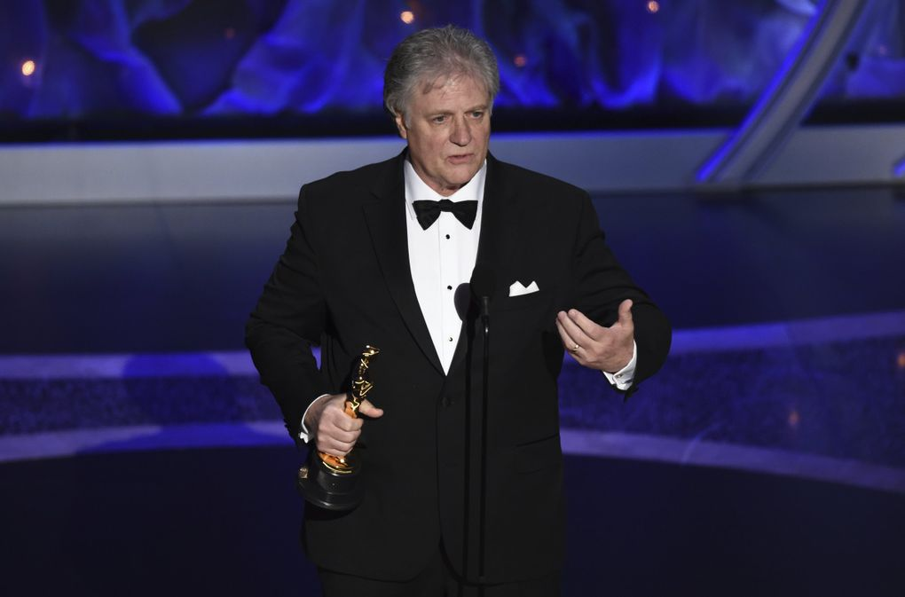 """Don Sylvester accepts the award for best sound editing for """"Ford v Ferrari"""" at the Oscars on Sunday, Feb. 9, 2020, at the Dolby Theatre in Los Angeles. (AP Photo/Chris Pizzello) CADC315 CADC315 (Chris Pizzello / Chris Pizzello/Invision/AP)"""