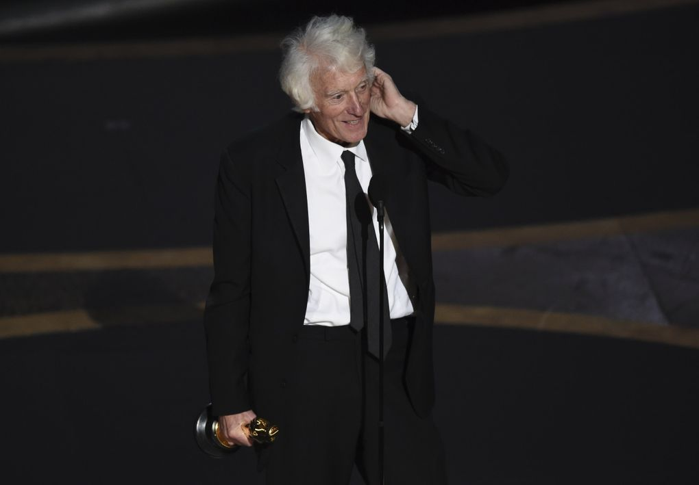 """Roger Deakins accepts the award for best cinematography for """"1917"""" at the Oscars on Sunday, Feb. 9, 2020, at the Dolby Theatre in Los Angeles. (AP Photo/Chris Pizzello) CADC331 CADC331 (Chris Pizzello / Chris Pizzello/Invision/AP)"""