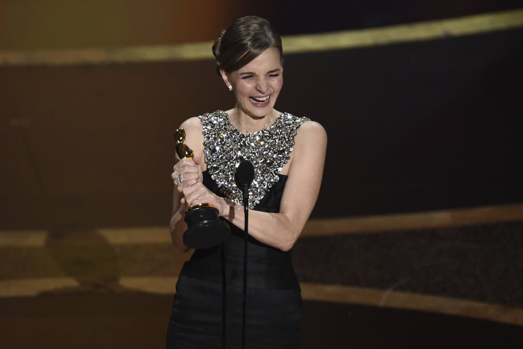 """Hildur Guonadottir accepts the award for best original score for """"Joker"""" at the Oscars on Sunday, Feb. 9, 2020, at the Dolby Theatre in Los Angeles. (AP Photo/Chris Pizzello) CADC368 CADC368 (Chris Pizzello / Chris Pizzello/Invision/AP)"""