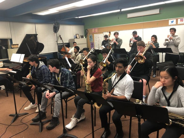 The Seattle JazzED Ellington Ensemble, shown here recording its competition submission in the JazzED classroom, has been named a finalist in the 2020 Essentially Ellington competition. (Courtesy of Seattle JazzED)