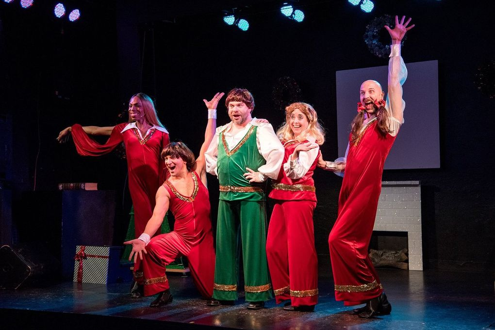 """""""Scott Shoemaker's War on Christmas!"""" holiday cabaret at Re-bar in 2018 featured Seattle stage regulars Waxie Moon, Adé and others. (Bronwen Houck)"""