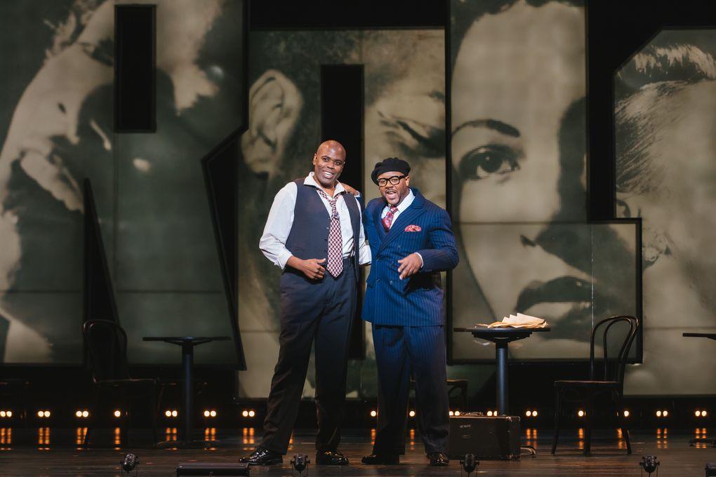 "Joshua Stewart (Charlie Parker) and Jorell Williams (Dizzy Gillespie) in Seattle Opera's ""Charlie Parker's Yardbird."" (Sunny Martini)"