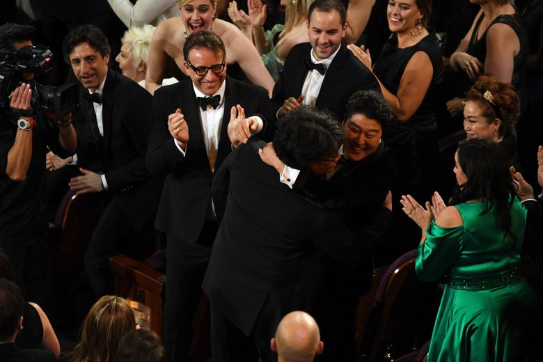 Bong Joon-ho and Kang-ho Song react after 'Parasite' was named Best Picture on Feb. 9. (Getty Images via Bloomberg)
