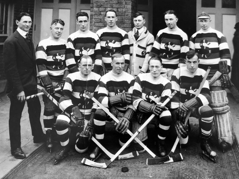 Members of the 1919 Seattle Metropolitans, who twice came an overtime goal away from winning the Stanley Cup only to have the Montreal Canadiens tie the series. The decisive game was later canceled and the Cup not awarded after an outbreak of the Spanish Influenza pandemic hit players and coaches from both teams, killing Montreal defenseman Joe Hall.   (Frank Foyston Family)