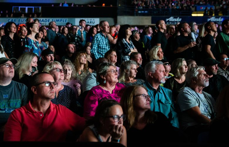 Large gatherings, like the one at an Elton John Farewell Tour concert at the Tacoma Dome in 2019, have been temporarily banned by Gov. Jay Inslee, in a move to slow the spread of the novel coronavirus. (Andy Bao / The Seattle Times)