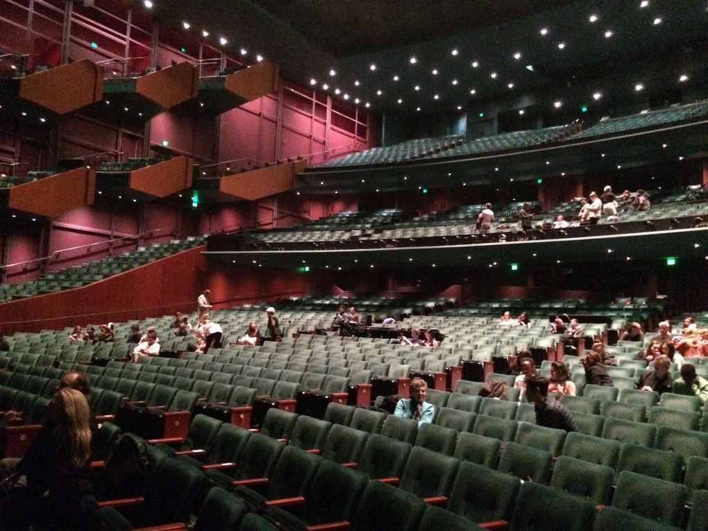 """A nearly empty McCaw Hall during the dress rehearsal for Pacific Northwest Ballet's """"One Thousand Pieces"""" and """"Empire Noir."""" (Moira Macdonald / The Seattle Times)"""