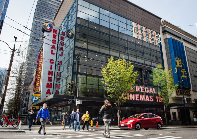 Regal meridian 16 of 7th Avenue and Pike Street in downtown Seattle on April 15, 2019.   (Amanda Snyder / The Seattle Times)