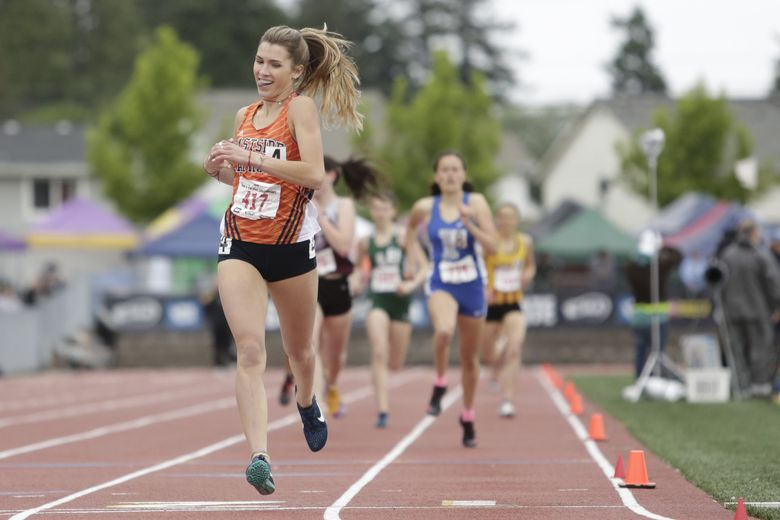 Eastside Catholic's Kate Jendrezak won the Class 3A 800 state title at Mount Tahoma High School in Tacoma last year.  (Jason Redmond / Special to The Seattle Times)