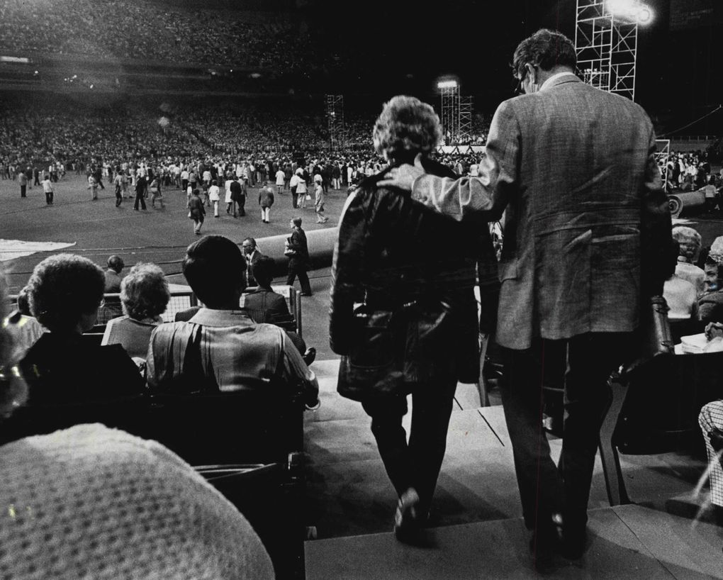 The Billy Graham Crusade hit the Kingdome in its early years.  (Jerry Gay / The Seattle Times, 1976)