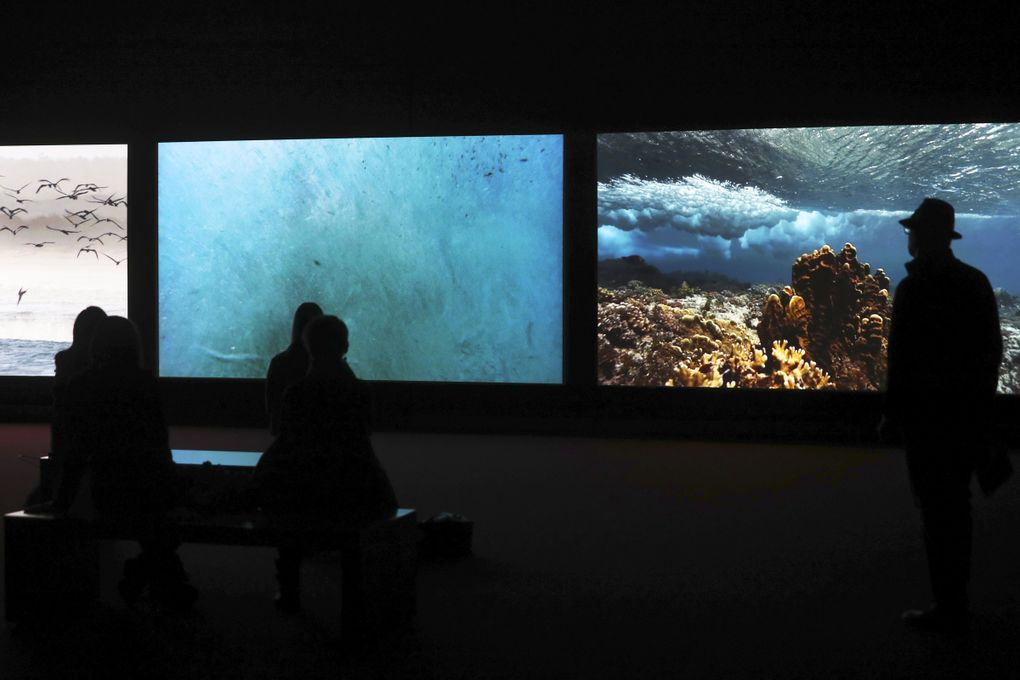 """""""Vertigo Sea"""" (2015) is one of three works that comprise """"John Akomfrah: Future History,"""" which opened March 5 at Seattle Art Museum. (Ken Lambert / The Seattle Times)"""