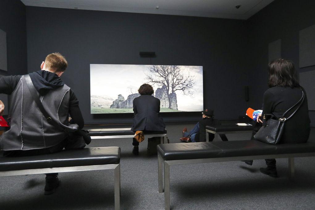 "Viewers take in ""Tropikos"" (2016), a 36-minute film that's part of Seattle Art Museum's exhibit ""John Akomfrah: Future History.""  (Ken Lambert / The Seattle Times)"