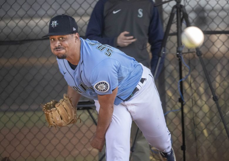 Justus Sheffield throws during his bullpen session last month. (Dean Rutz / The Seattle Times)
