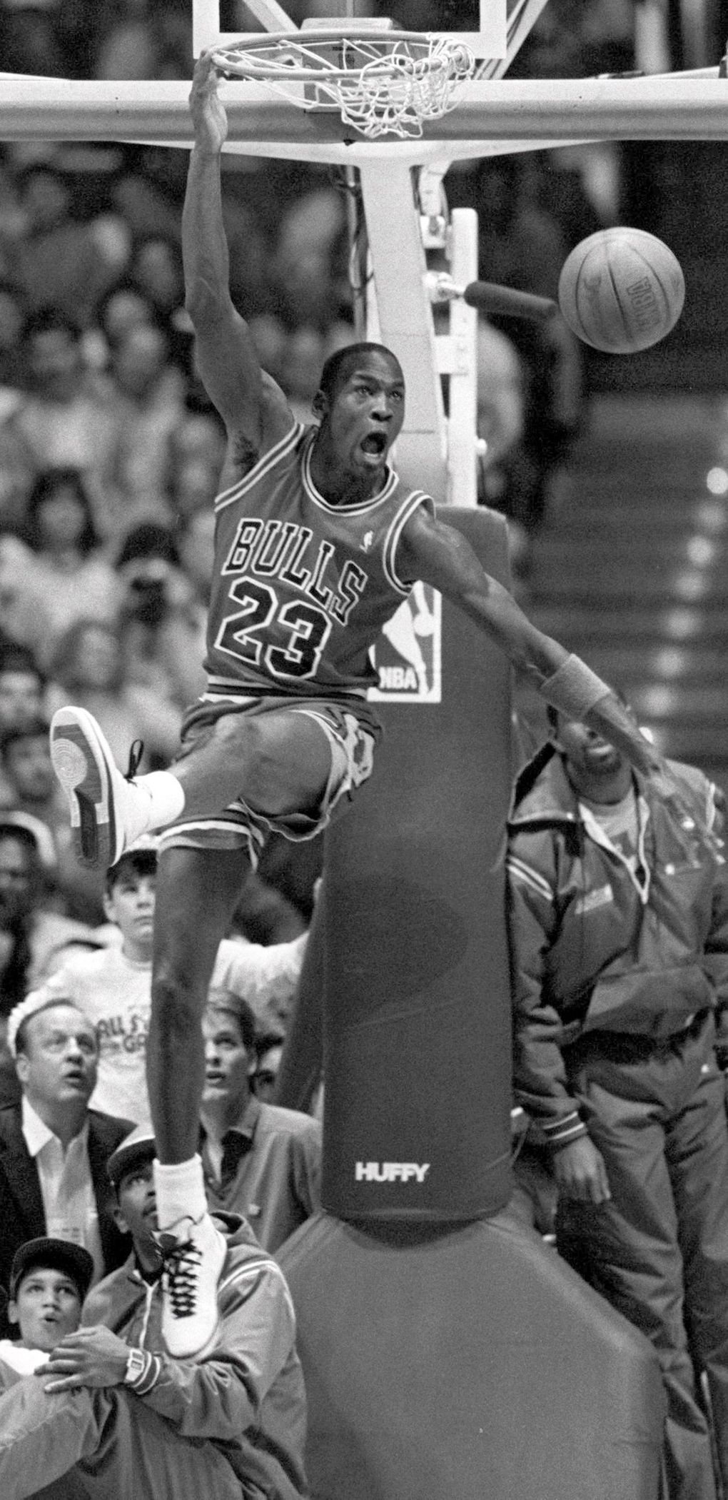 Michael Jordan competes in the 1987 NBA All-Star Slam Dunk contest in 1987. (Harley Soltes / The Seattle Times)