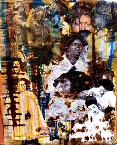 Mixed-media work with found photographs on reclaimed wood by Lavett Ballard, whose work is currently on view at Wa Na Wari. This work reflects on African American beauty ideals and practices. (Courtesy of the artist)