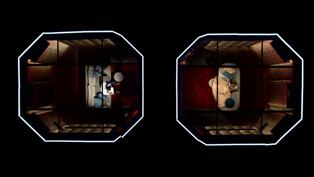 """The """"Love Is Blind"""" pods shown from above. (Courtesy of Netflix)"""