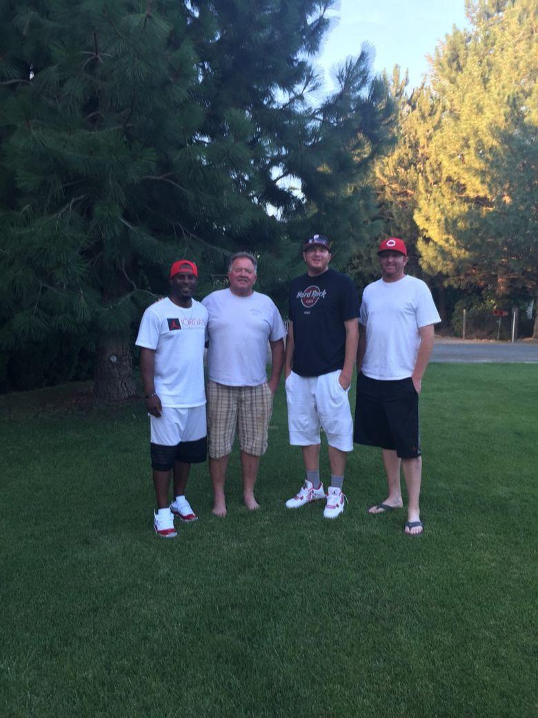 Caption: From left to right, Junior Adams, Guy Thomas, Tyler Thomas and Troy Thomas at the Thomas' home in Prosser (Courtesy Teresa Thomas).