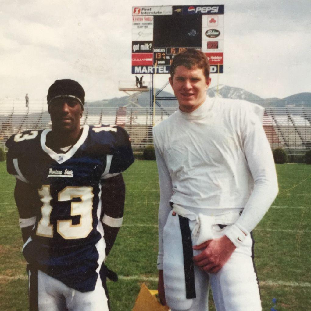 Junior Adams and Tyler Thomas at Montana State. (Courtesy Teresa Thomas)