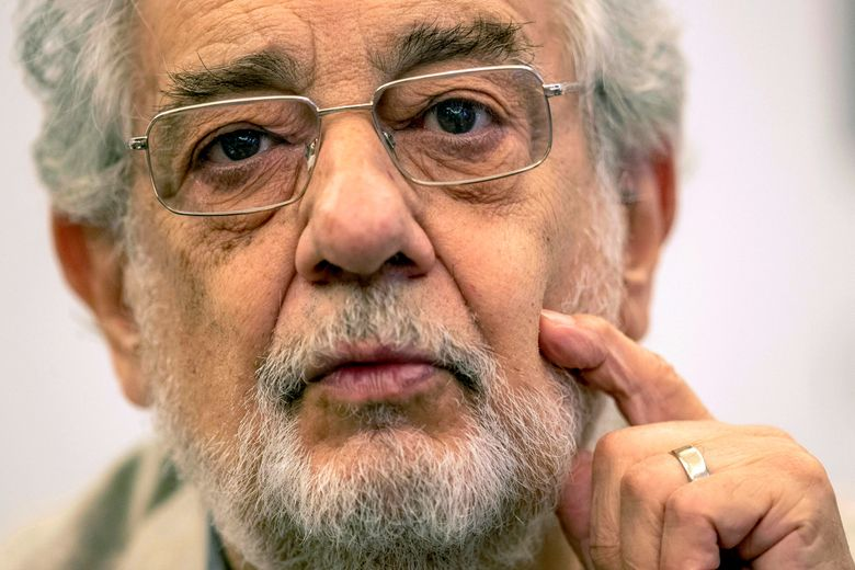 FILE – In this July 12, 2019 file photo, opera singer Placido Domingo speaks during a news conference about an upcoming show in Madrid, Spain. On Friday, March 20, 2020, the American Guild of Musical Artists said Domingo has resigned from the U.S. union that represents opera singers, after two investigations found sexual harassment allegations against him to be credible. The guild said he will also contribute $500,000 to sexual harassment eradication programs and a fund that helps opera employees in crisis. (AP Photo/Bernat Armangue, File)
