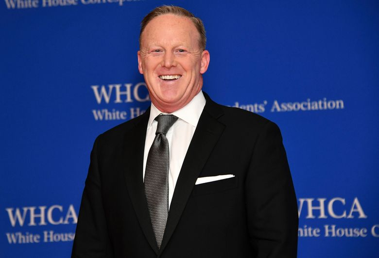 """FILE – This April 27, 2019 file photo shows Sean Spicer at the 2019 White House Correspondents' Association dinner in Washington. Spicer said he expects his old boss, President Donald Trump, to win re-election, but he doesn't view his new television talk show as a vehicle for helping to accomplish that. Trump's first presidential press secretary launches """"Spicer & Co."""" Tuesday, March 3, 2020, on the conservative cable network Newsmax TV. (Photo by Charles Sykes/Invision/AP, File)"""