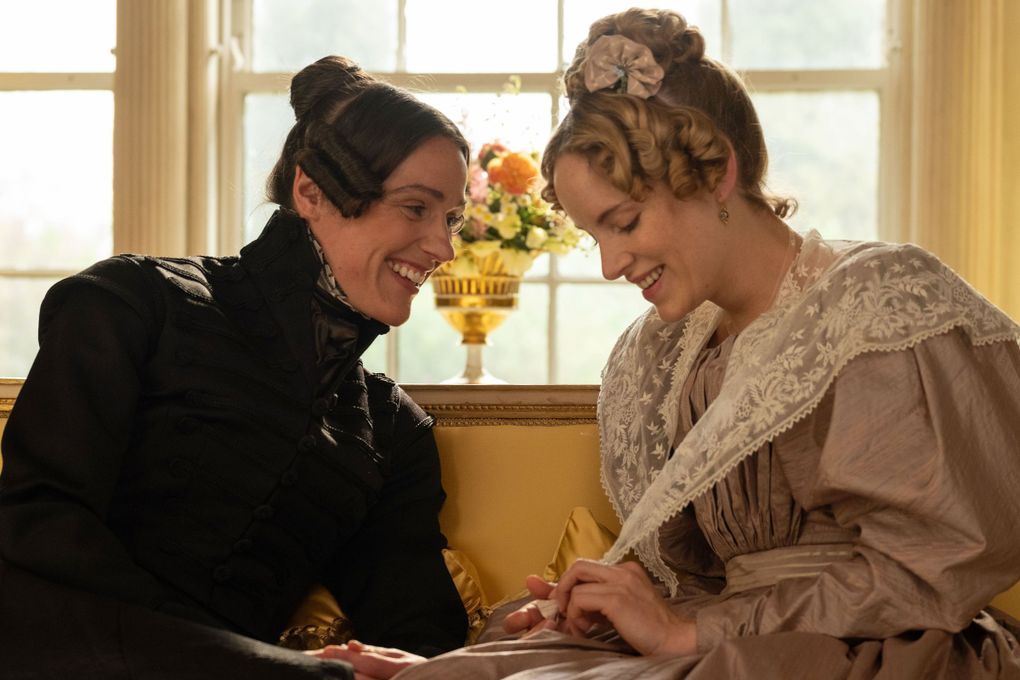 """In BBC's """"Gentleman Jack,"""" Suranne Jones portrays Anne Lister (left), a charismatic, ahead-of-her-time English landowner who wants nothing more than to find happiness and a wife in the 1830s. Season 1 revolves around Lister's affection for her neighbor, the shy, wealthy Ann Walker (Sophie Rundle).   (Matt Squire / HBO)"""