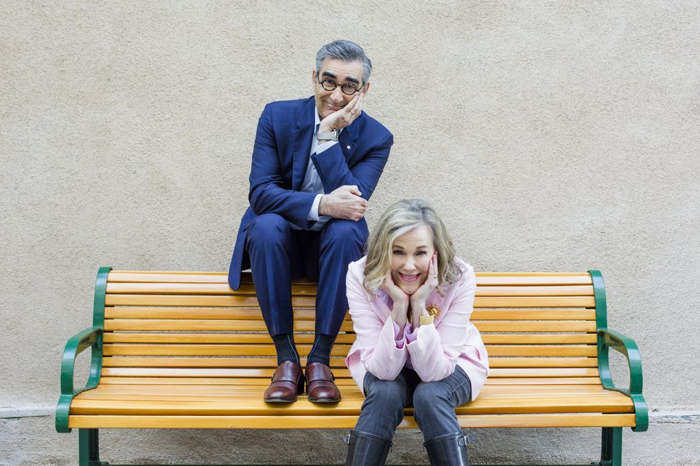 """Eugene Levy and Catherine O'Hara play a husband and wife in """"Schitt's Creek."""" (Annie Tritt / New York Times)"""