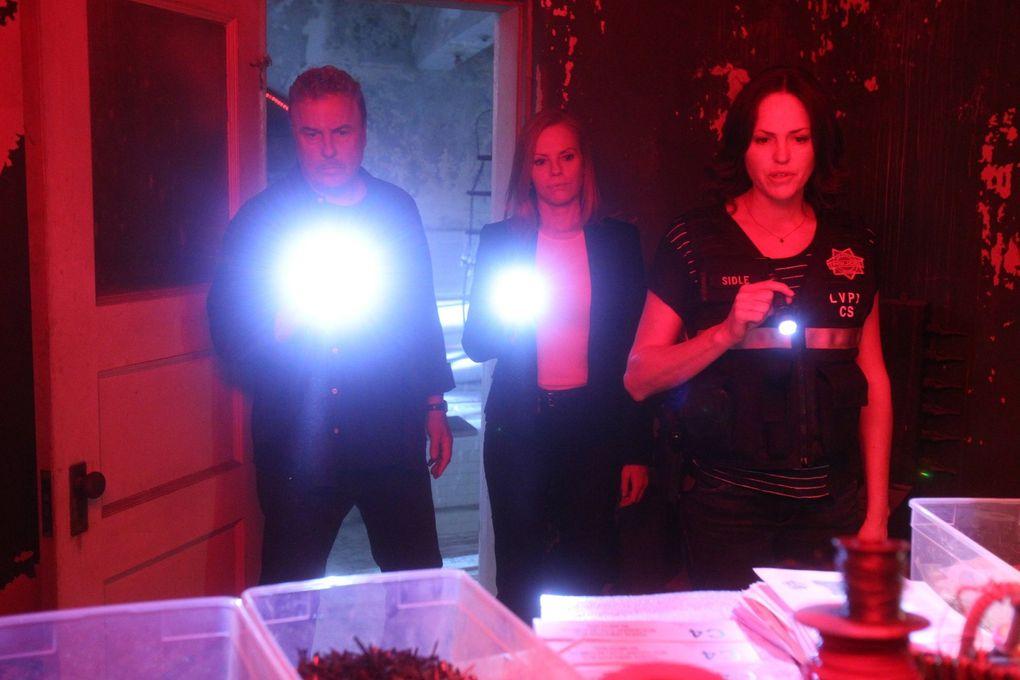 "William Petersen, Marg Helgenberger and Jorja Fox in ""CSI: Crime Scene Investigation."" (Sonja Flemming / CBS)"
