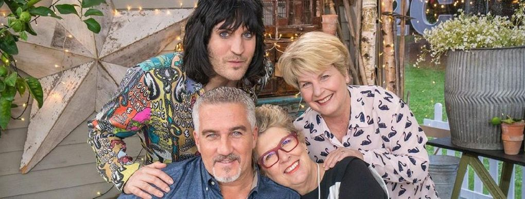 """""""The Great British Baking Show"""" features, clockwise from top left, Noel Fielding, Sandi Toksvig, Prue Leith and Paul Hollywood, though different seasons feature different hosts and judges. (Courtesy of Netflix)"""