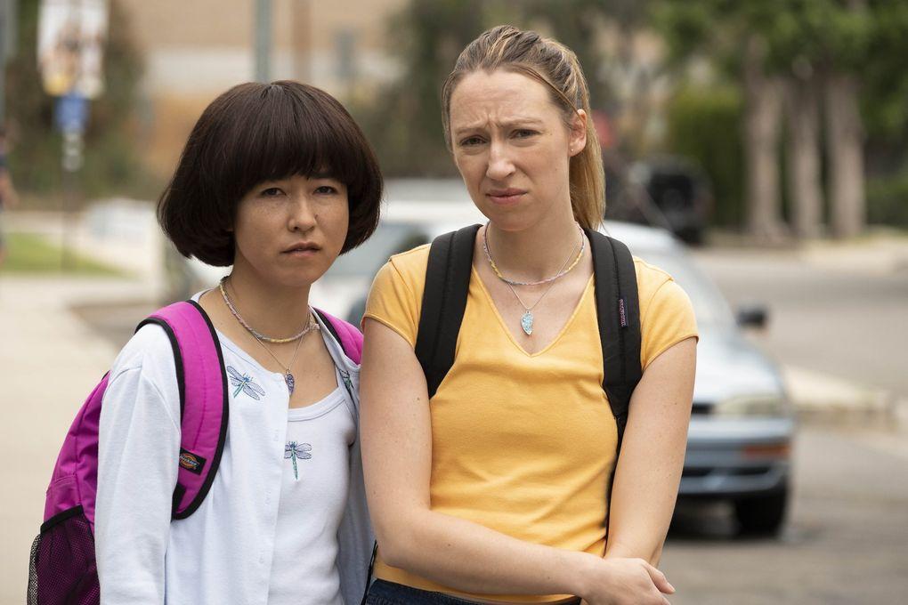 "Maya Erskine, left, and Anna Konkle in ""PEN15."" (Alex Lombardi / Hulu)"