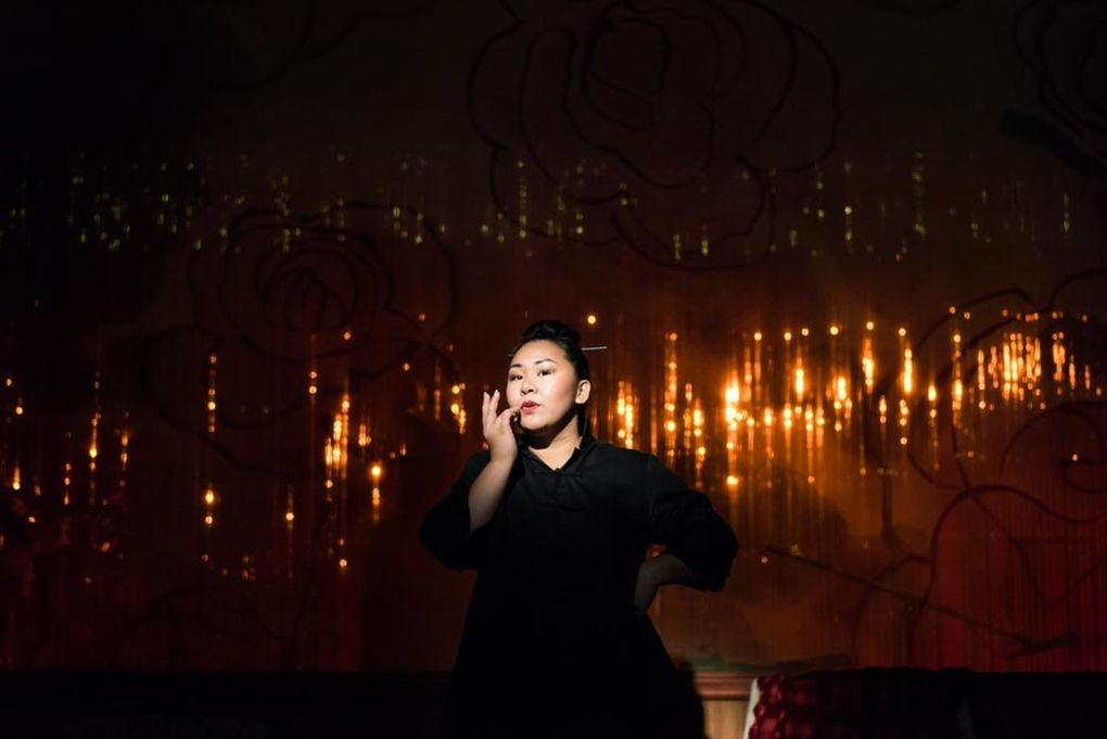 """Sara Porkalob plays characters representing three generations of her family in her one-actor show """"Dragon Lady.""""  (Robert Wade / Intiman Theatre)"""