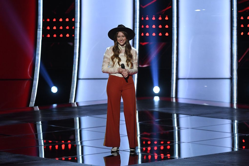 """Maple Valley's Zan Fiskum, shown here in the auditions round of """"The Voice,"""" will appear in the live performance round (performing via live remote from home) of the NBC singing competition May 4. (Mitchell Haddad / NBC)"""