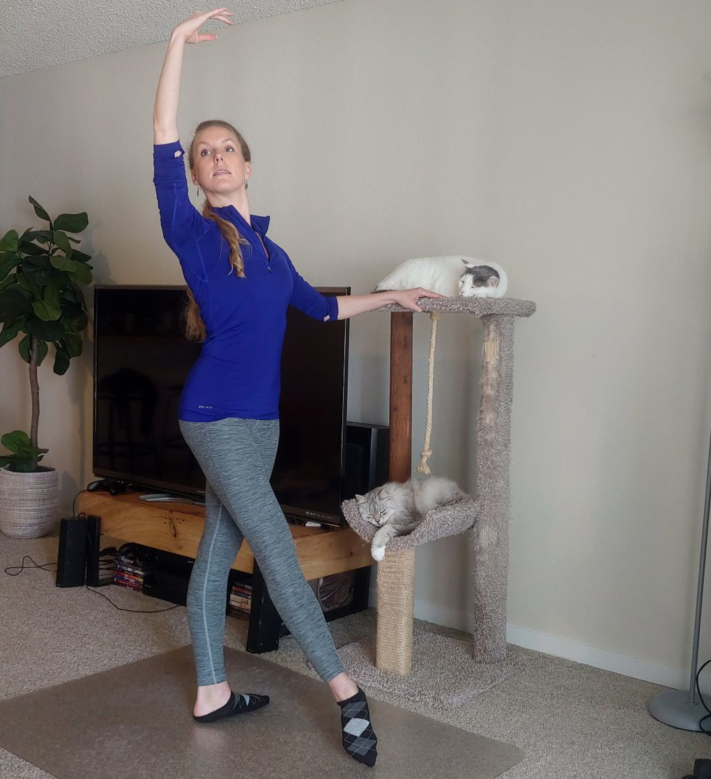 Sarah Villwock, corps de ballet member with Pacific Northwest Ballet, does barre exercises with her cats Casper (white) and Mitzi (gray). (Sarah Villwock)