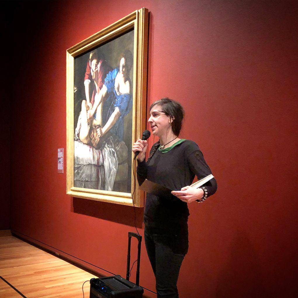 "Artist Gina Siciliano at Seattle Art Museum next to Artemisia Gentileschi's ""Judith Slaying Holofernes."" (Courtesy of Fantagraphics Books)"
