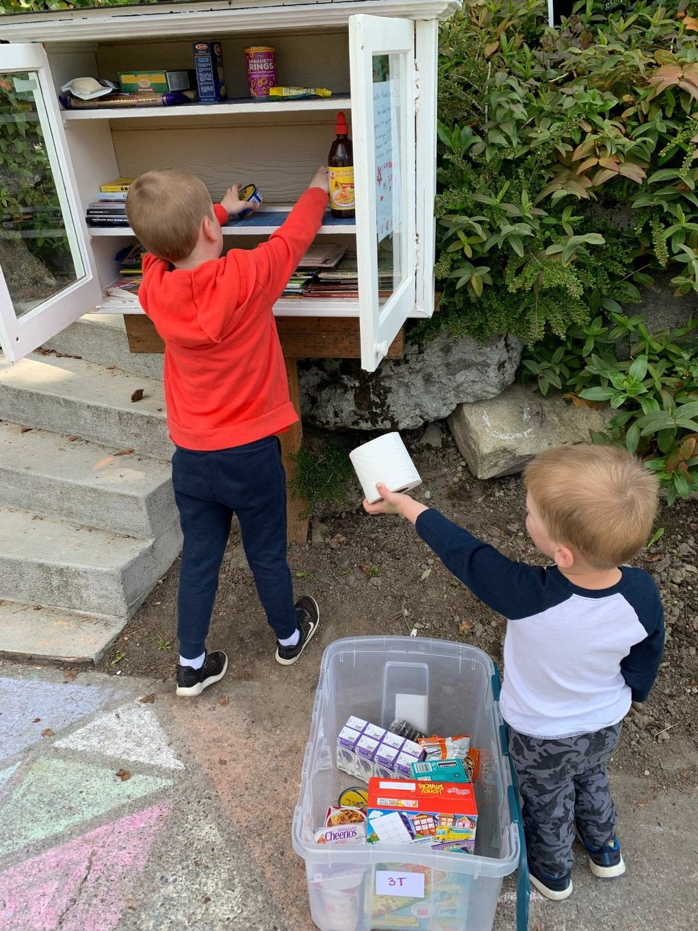 """Chelsea Dziedzic's sons stock their Mount Baker """"library"""" with books, toilet paper and food. The family put up the book-sharing box after the coronavirus outbreak. (Chelsea Dziedzic)"""