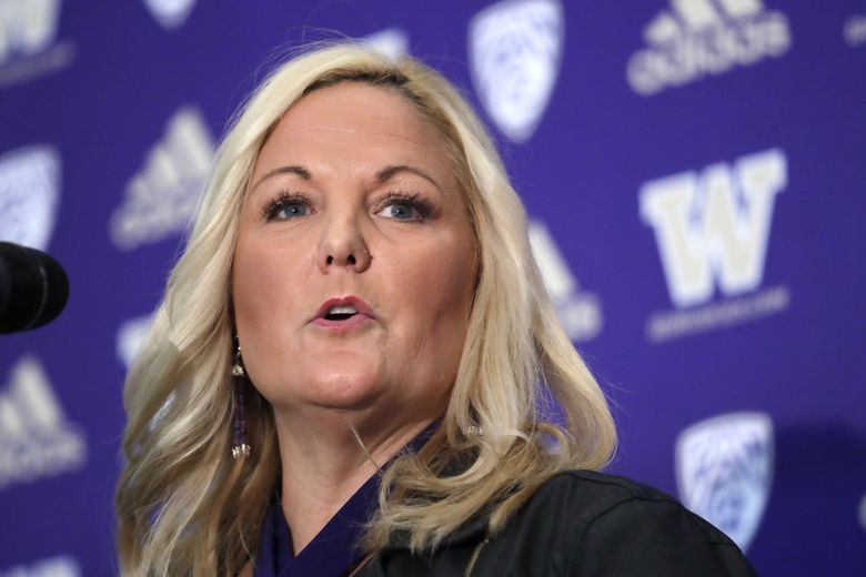Washington athletic director Jen Cohen speaks during a news conference about football head coach Chris Petersen's decision to resign, Tuesday, Dec. 3, 2019, in Seattle. Petersen unexpectedly resigned at Washington on Monday, a shocking announcement with the Huskies coming off a 7-5 regular season and bound for a sixth straight bowl game under his leadership. Petersen will coach Washington in a bowl game, his final game in charge. Defensive coordinator Jimmy Lake is being promoted to head coach. (AP Photo/Elaine Thompson) OTK (Elaine Thompson / AP)